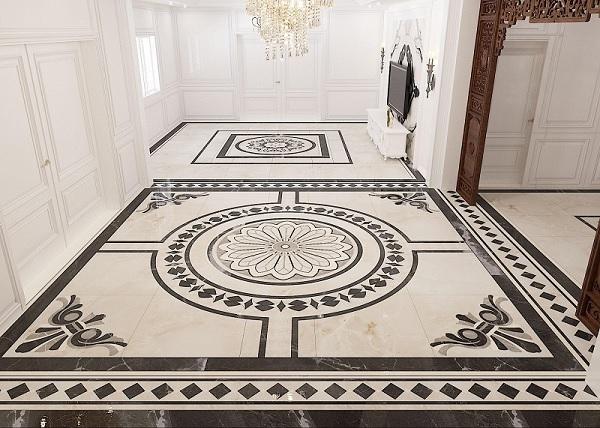 Mẫu gạch lát họa tiết cổ điển đen - trắng cho không gian tiền sảnh thêm nổi bật