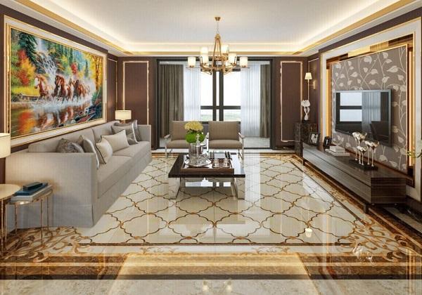 Mẫu gạch thảm vi tinh lát nền phòng khách hiện đại