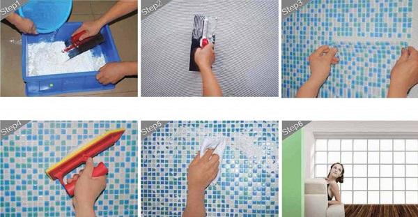 quy trình thi công gạch mosaic đầy đủ các bước đơn giản