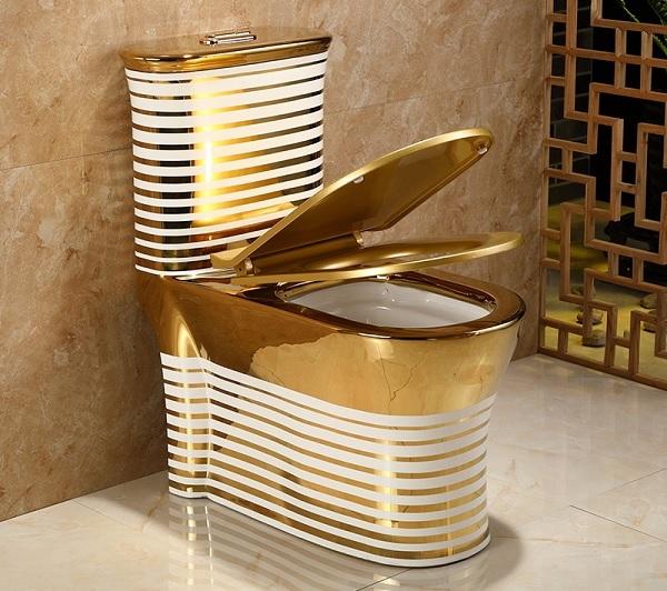 Mẫu thiết bị vệ sinh bồn cầu mạ vàng thiết kế độc đáo