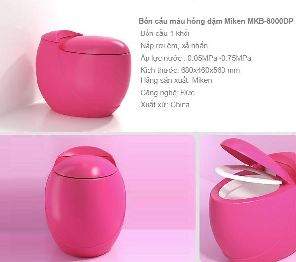 Bồn cầu màu hồng đậm Miken MKB-8000DP hình quả trứng độc đáo