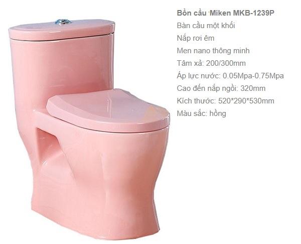 Bồn cầu màu hồng Miken MKB 1239P lớp men bề mặt sáng bóng, hạn chế bám bẩn rất tốt
