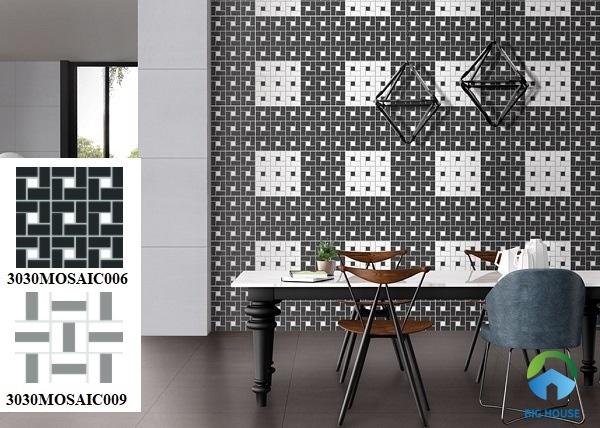 Kết hợp 2 mẫu gạch mosaic gốm 3030MOSAIC006 VÀ 3030MOSAIC009 ấn tượng