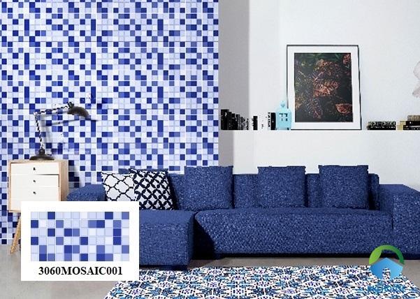 Mẫu gạch Mosaic 3060MOSAIC001 tông màu xanh - trắng độc đáo