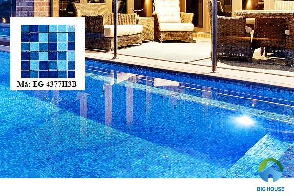 Mẫu gạch EG-4377H3B ốp lát bể bơi gam màu xanh dương đậm