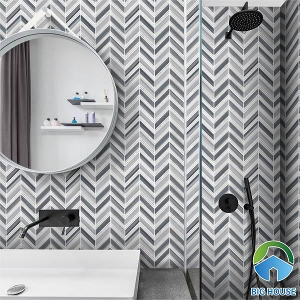 Gạch ốp tường với sự kết hợp 2 gam màu trắng - xám độc đáo