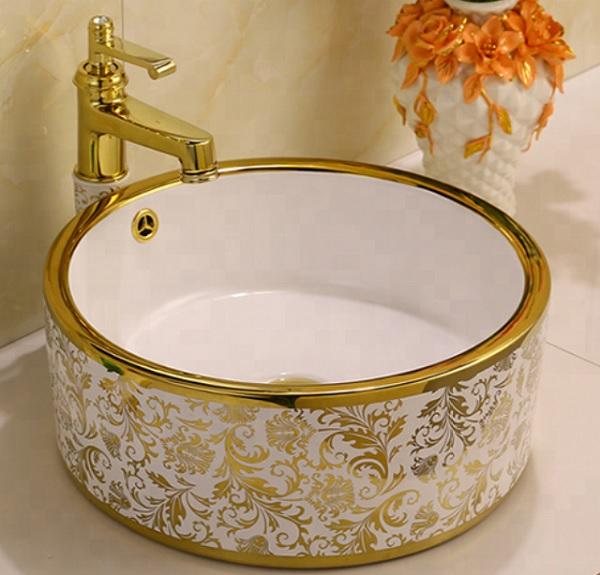 Thiết bị vệ sinh mạ vàng chậu rửa lavabo đặt bàn với kiểu dáng hiện đại
