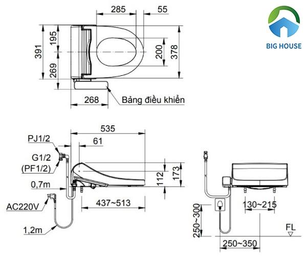Bản vẽ kỹ thuật mẫu bồn cầu Inax CW-H18VN