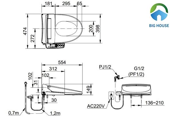 Bản vẽ kỹ thuật chi tiết mẫu bồn cầu Inax CW-KB22AVN
