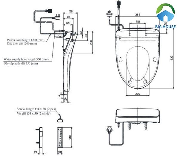 Bản vẽ kỹ thuật của nắp bồn cầu Toto TCF4911Z(W11)