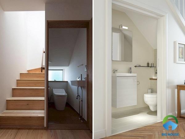 cầu thang dưới nhà vệ sinh đẹp hiện đại