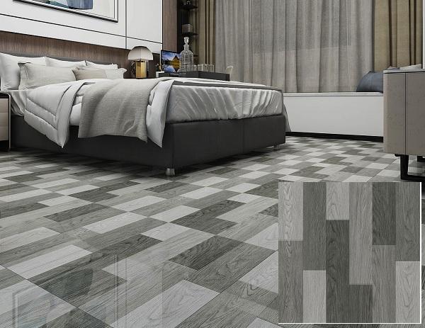 Gạch lát nền phòng ngủ giả gỗ Hoàn Mỹ 5009 màu xám đậm - nhạt độc đáo