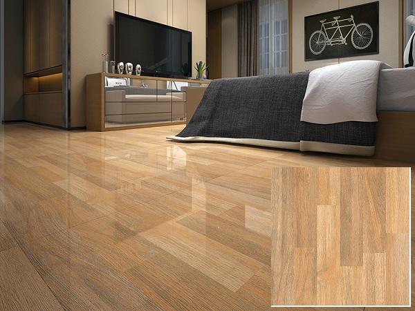 Gạch giả gỗ Hoàn Mỹ 8304 men bóng sang trọng cho phòng ngủ thêm hiện đại