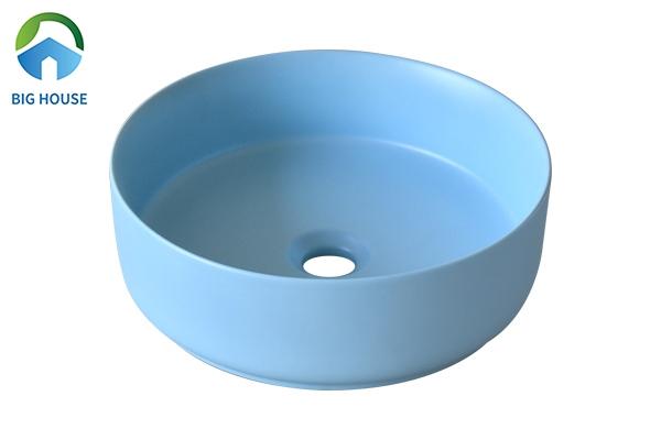Lavabo màu xanh SU525 hình trụ tròn đơn giản