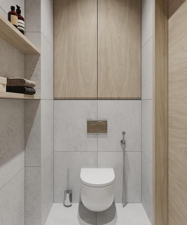 Thiết kế tủ âm tường giúp tiết kiệm tối đa diện tích cho nhà vệ sinh 1m2