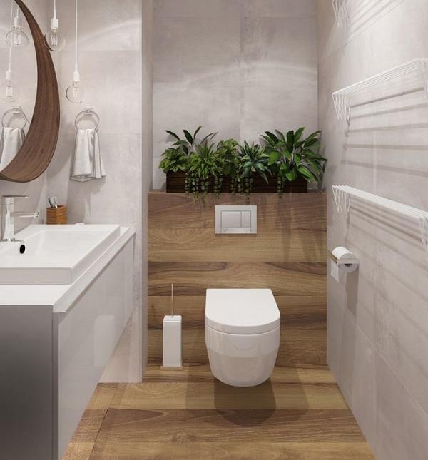 Thiết kế nhà vệ sinh 1m2 với cây xanh và gạch ốp lát giả gỗ