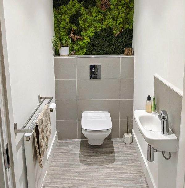 thiết kế nhà vệ sinh nhỏ 1m2 bằng cách sử dụng cây xanh