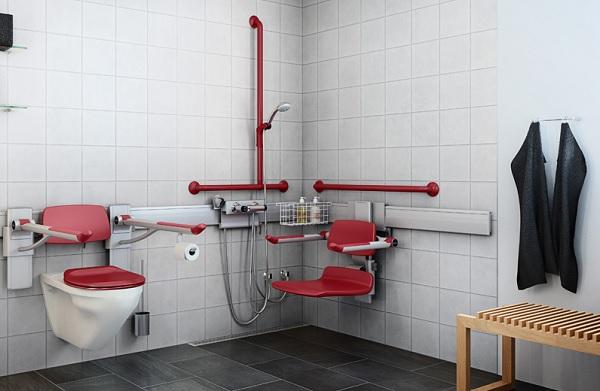 Sử dụng các màu sắc nổi bật trong thiết kế nhà vệ sinh cho người già