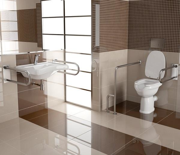 Hệ thống tay vịn được lắp đặt ở khắp mọi nơi trong mẫu thiết kế nhà vệ sinh cho người già này