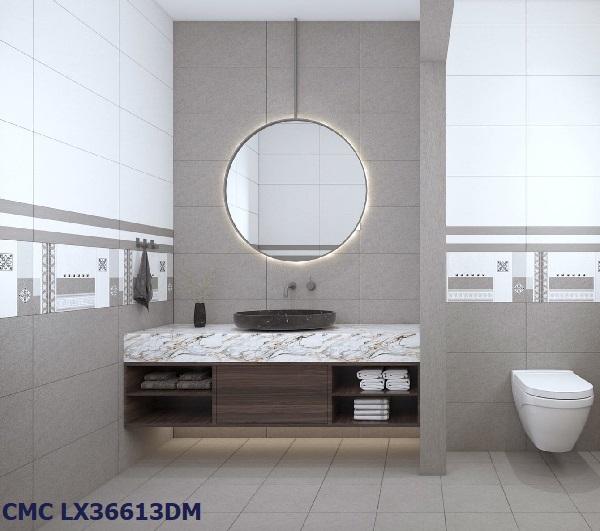 Mẫu gạch CMC LX36613DM họa tiết hình khối đơn giản, sang trọng